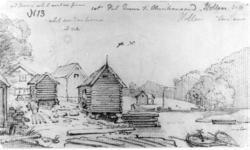 """Hollen i SøgneFra skissealbum av John W. Edy, """"Drawings Nor"""