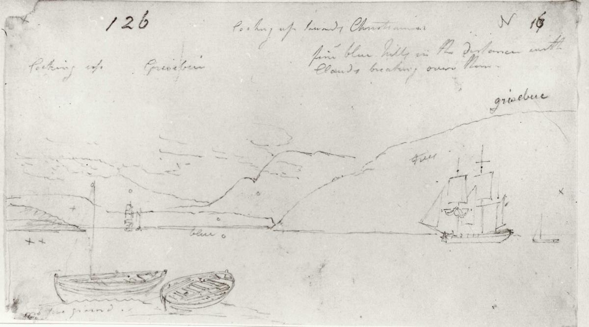 "Oslo, Christiania, Oslofjorden. Blyantskisse av John Edy: Drawings, Norway, 1800. ""Looking up towards Christiania"". Skissealbum utlånt av Deichmanske bibliotek."