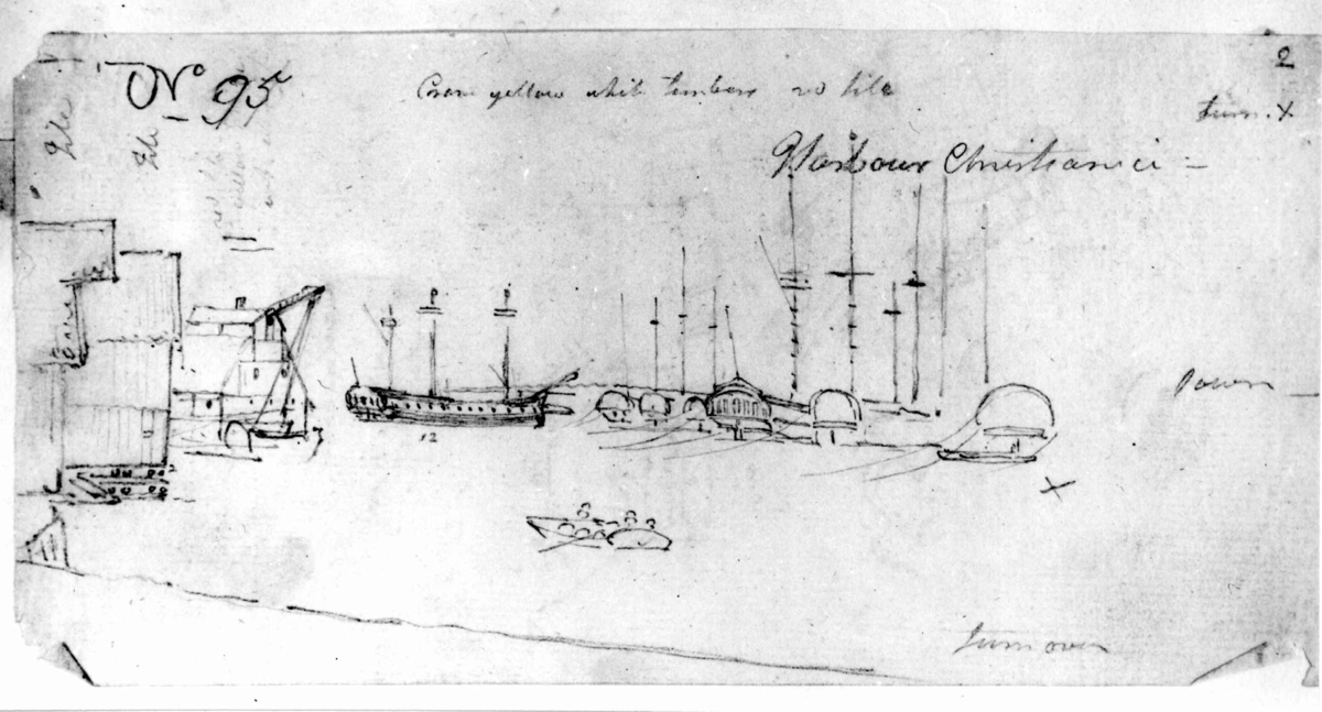 """Oslo. Christiania. Havnen. Blyantskisse av John Edy: Drawings  Norway, 1800. """"Harbour Christiania."""" Skissealbum utlånt av Deichmanske bibliotek."""