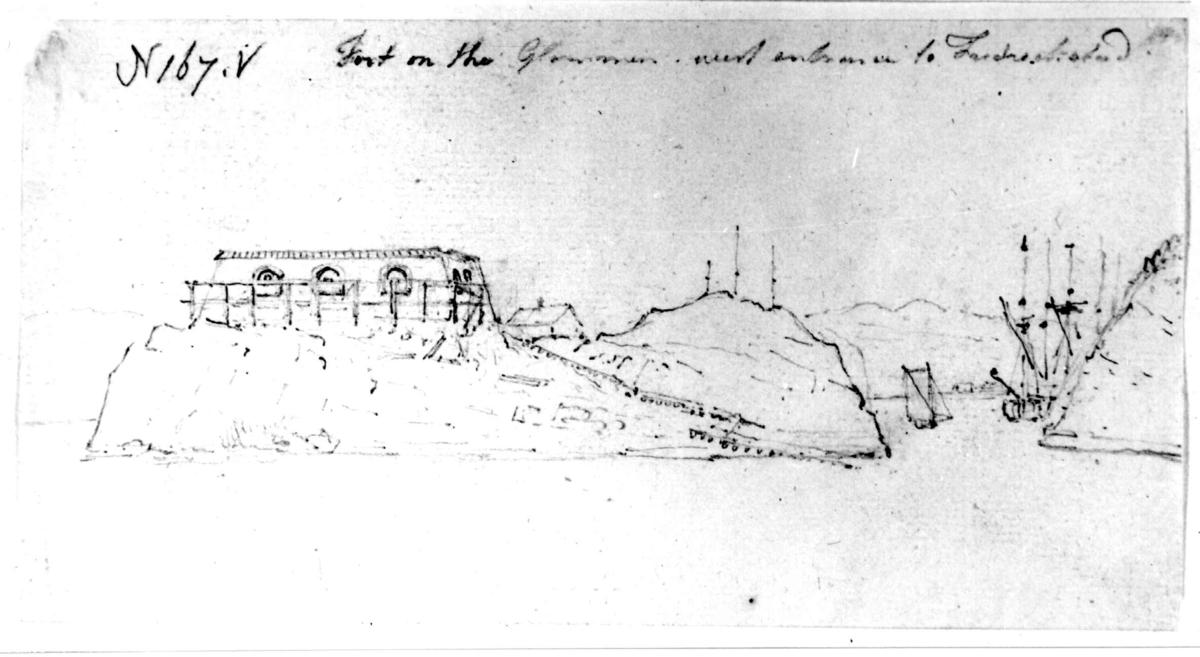"""KråkerøyFra skissealbum av John W. Edy, """"Drawings Norway 1800""""."""