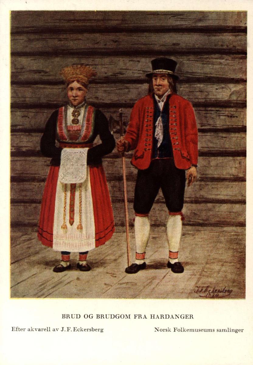 Postkort utgitt av Norsk Folkemuseum. Etter draktakvareller fra  JF Eckersberg. Brud og brudgom fra Hardanger.