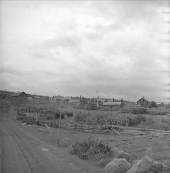 Sjusjøen, Ringsaker, Hedmark, juli 1954. Landskap med seter.