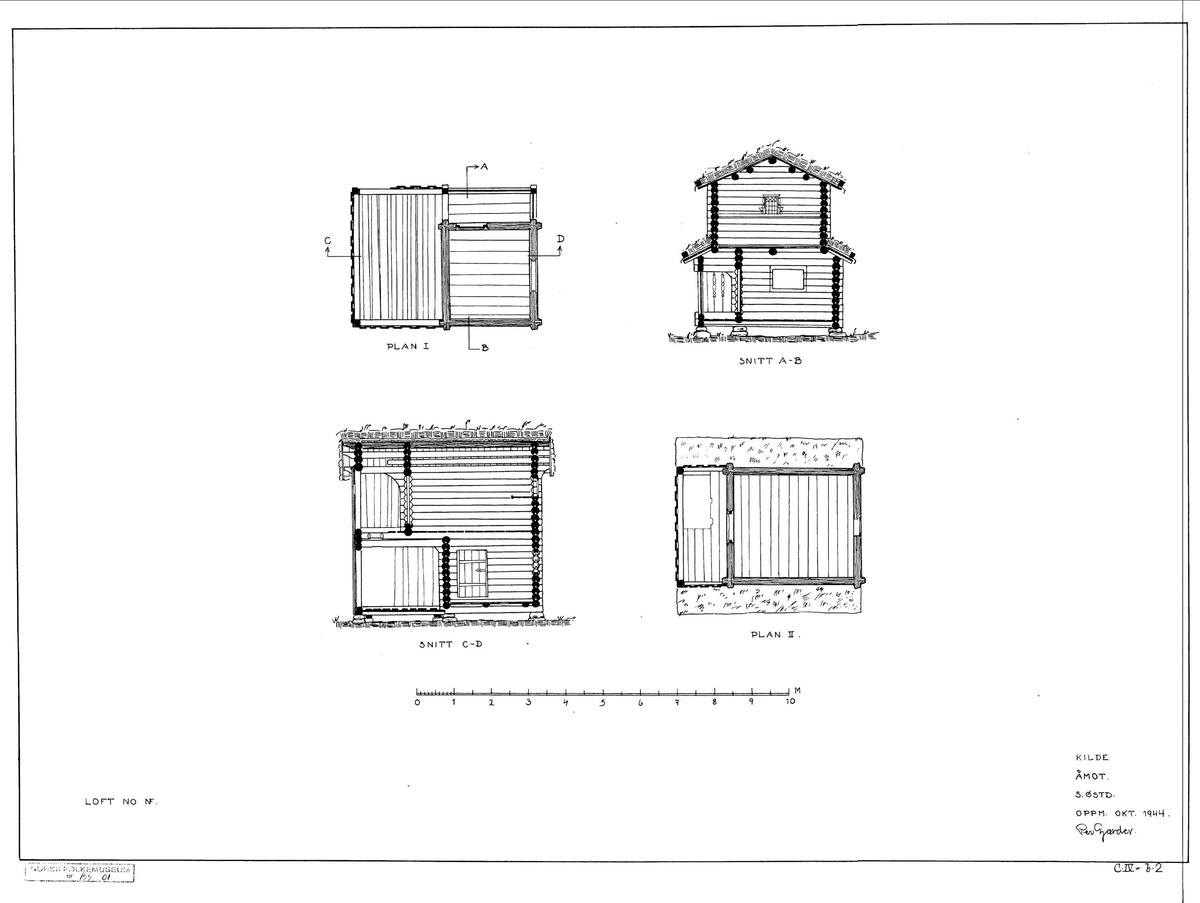 LOFT FRA KILDE I ÅMOT, 1700-TALLET OG CA. 1850  Overført til museet 1903, gjenoppført 1905   Loftet består av deler fra to ulike bygninger som begge er fra 1700-tallet, og ble satt sammen på 1800-tallet. Første etasje i loftet har vært øverste del av et barfrø (se 151). Det var ikke uvanlig å gi gamle barfrø en ny funksjon, enten på grunn av vedlikeholdsbehov eller fordi denne bygningstypen rett og slett gikk av mote. Mest sannsynlig er dette det barfrøet som en gang sto foran sommerstua fra Kilde (152). Andre etasje av loftet er fra en annen bygning.    (Tekst hentet fra By og bygd 43, 2010)