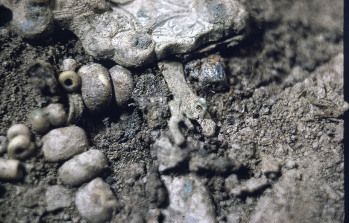 Prästgården, pärlor grav 36 - Arkeologi Gamla Uppsala 1973