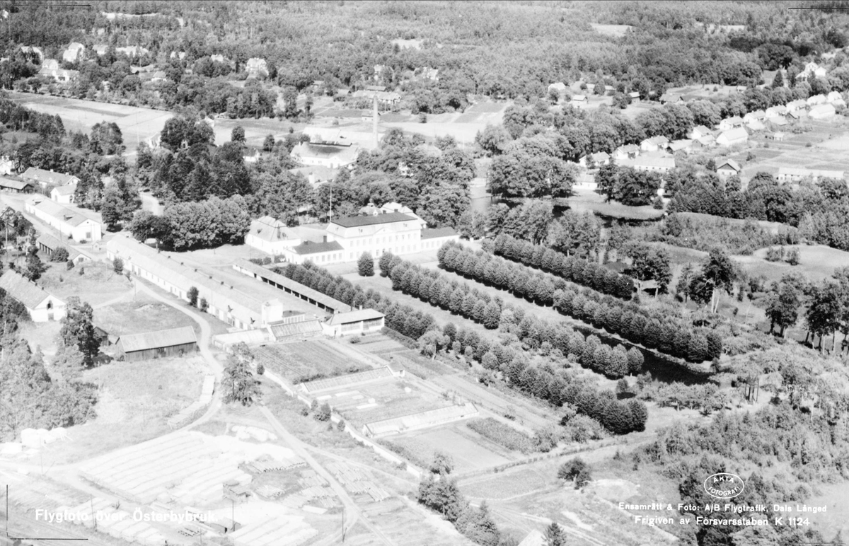 Flygfoto över Österbybruk, Films socken, Uppland 1947