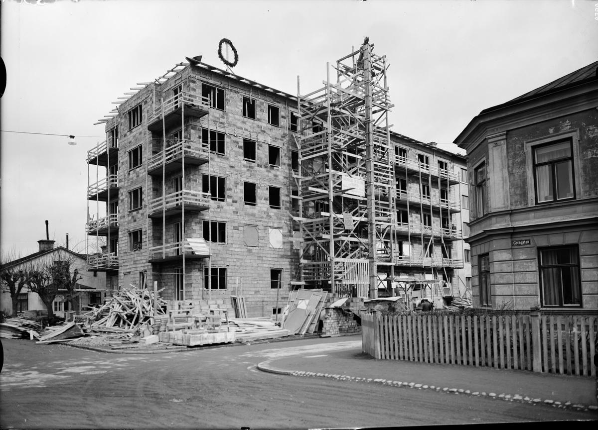 Flerbostadshus under byggnation, Götgatan - Odengatan, Luthagen, Uppsala 1939