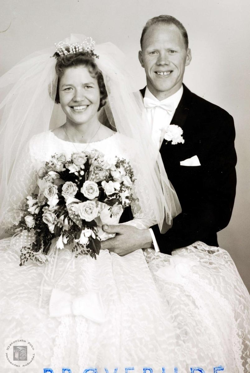 Brudebilde av Nanny og Olaf Høyland. Grindheim.
