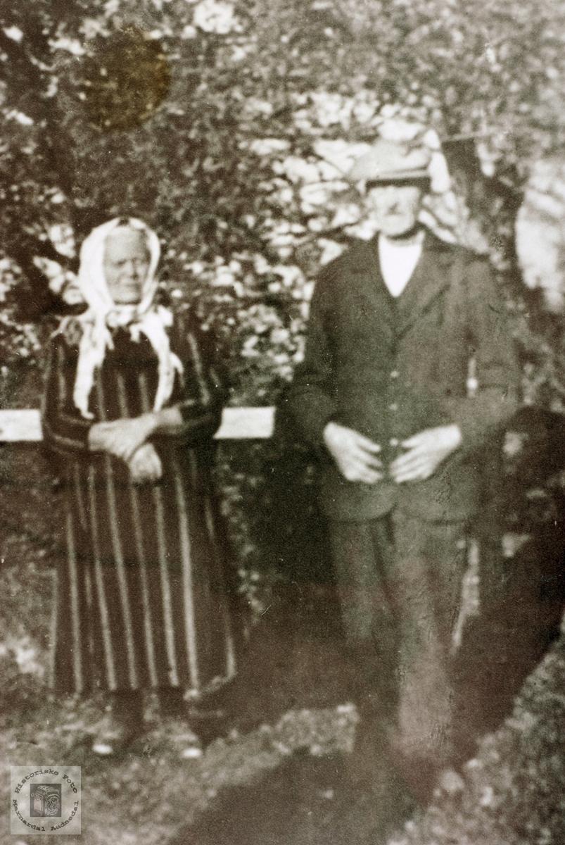 """Ekteparet Tarjer og Torkel Byremo i tunet """"Der veste"""", Byremo i Grindheim senere Audnedal."""