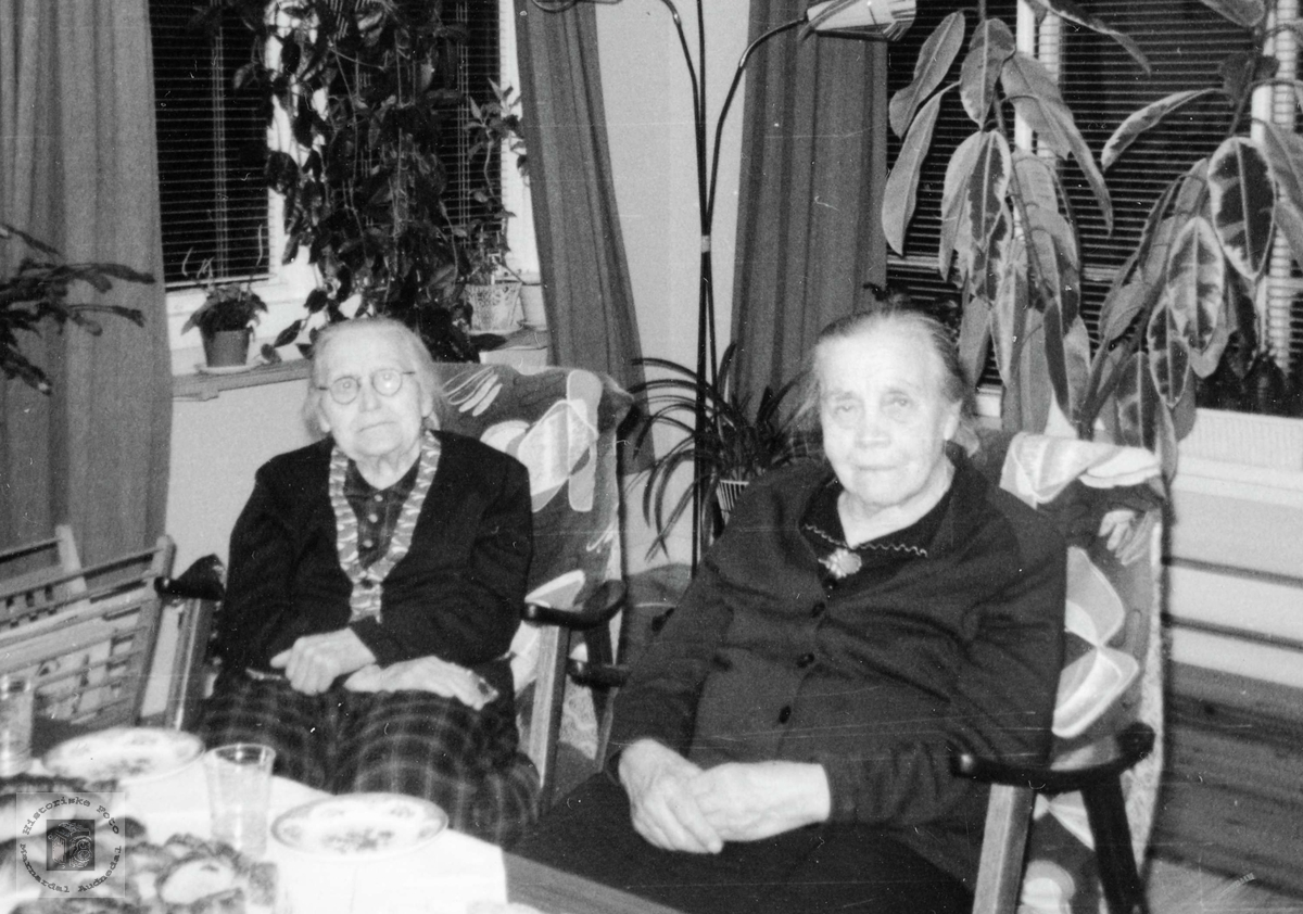 To flittinge eldre damer i kaffeselskap på Flottorp. Grindheim Audnedal.