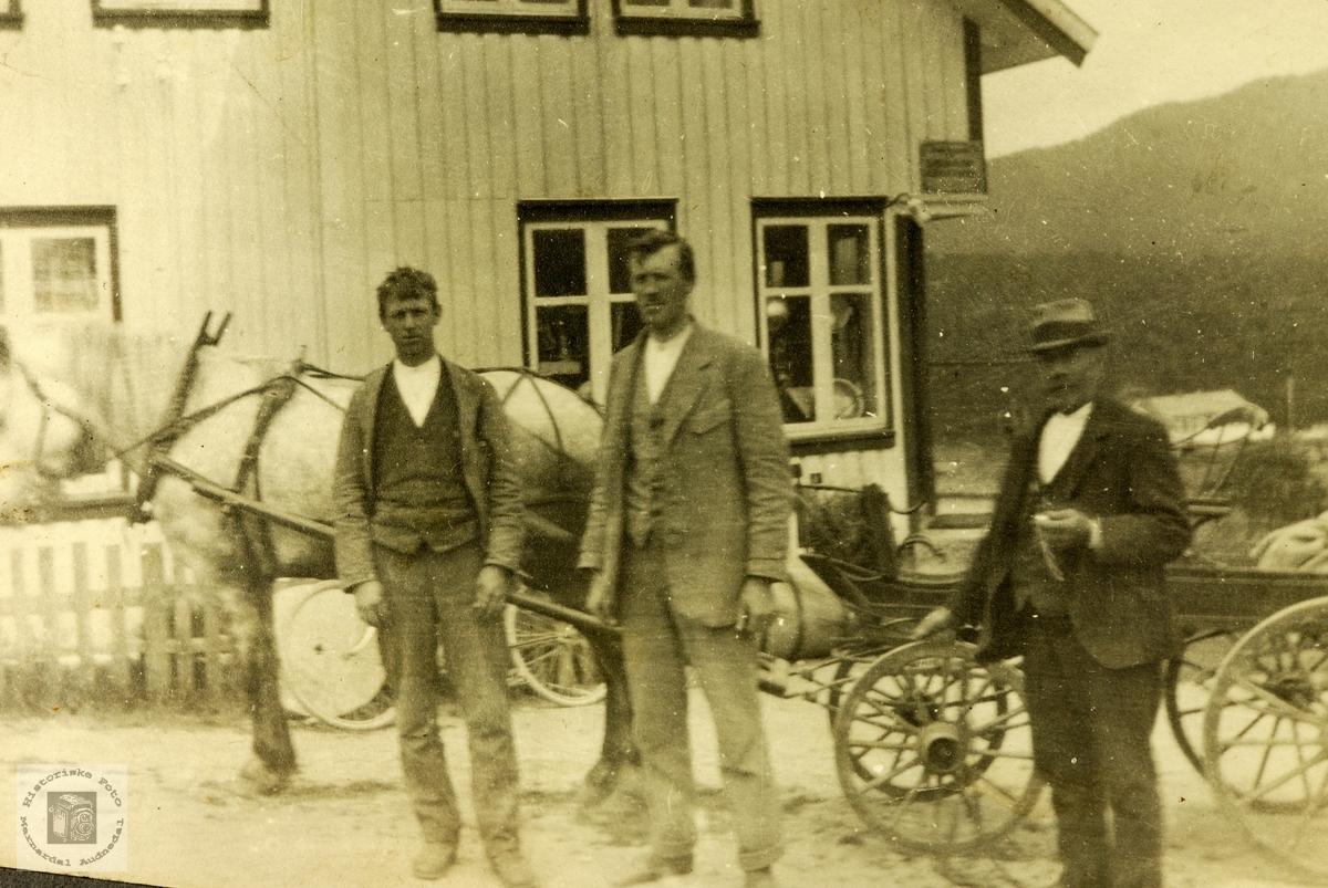 Med hest og trille på handletur. Grindheim.