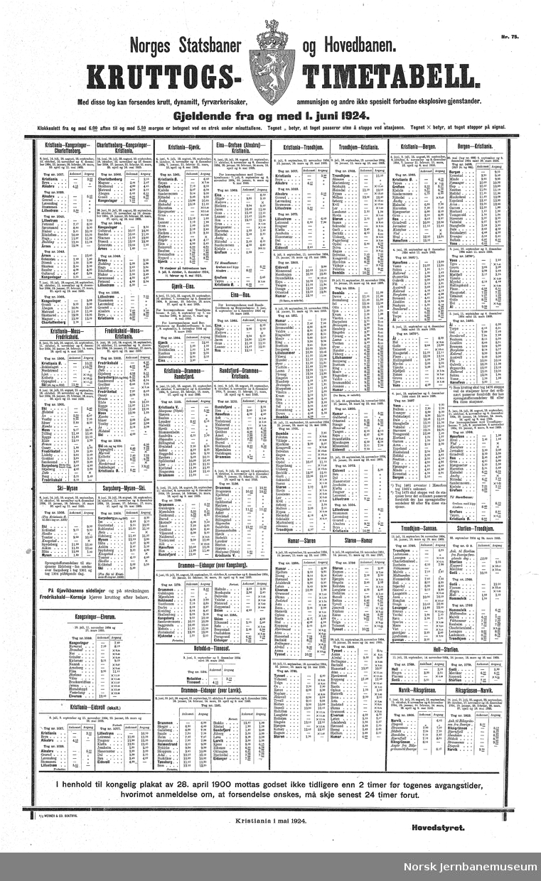 Ruteoppslag Kruttogs-Timetabel Gjeldende fra og med 1. juni 1924