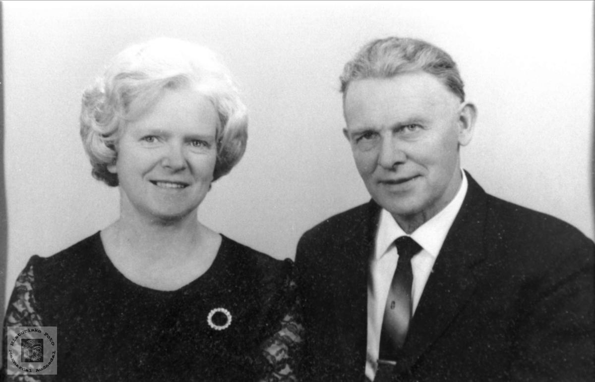 Portrett av ekteparet Agnes og Olav Tjomsland, Laudal.