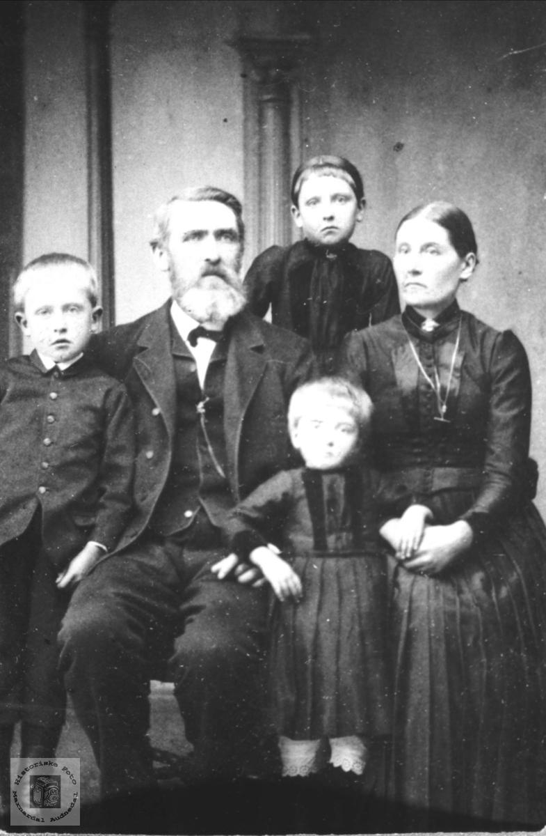 Portrett av familiegruppe. Ole. L. Heddeland, Øyslebø.