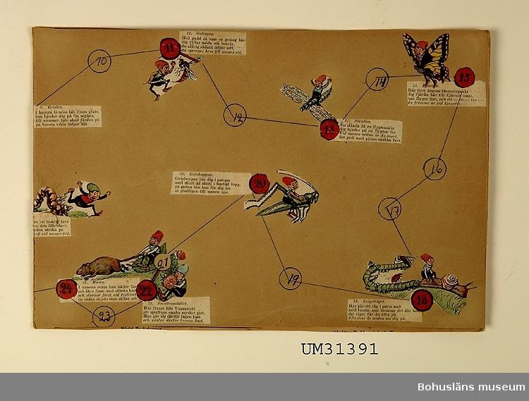 """Tärningsspel Tummetott 1 - 35 som Judith Abrahamson klippt ur en tidning och klistrat upp på styvare underlag.  Detta var """"ett jätteroligt och spännande spel"""".   Föremålet har använts av familjen Abrahamson i deras sommarstuga i Sundsandvik, byggd 1939. För ytterligare upplysningar om förvärvet, se UM031385."""