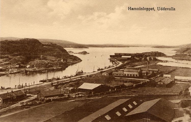 """Tryckt på kortet: """"Hamninloppet, Uddevalla."""""""
