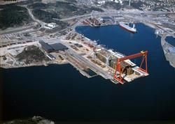 Vy över dockan under byggnation av T/T NANNY, Uddevallavarve