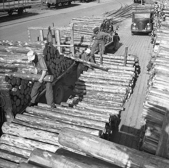 """Enligt notering: """"Lastning av Pitprops 12/7 1947""""."""
