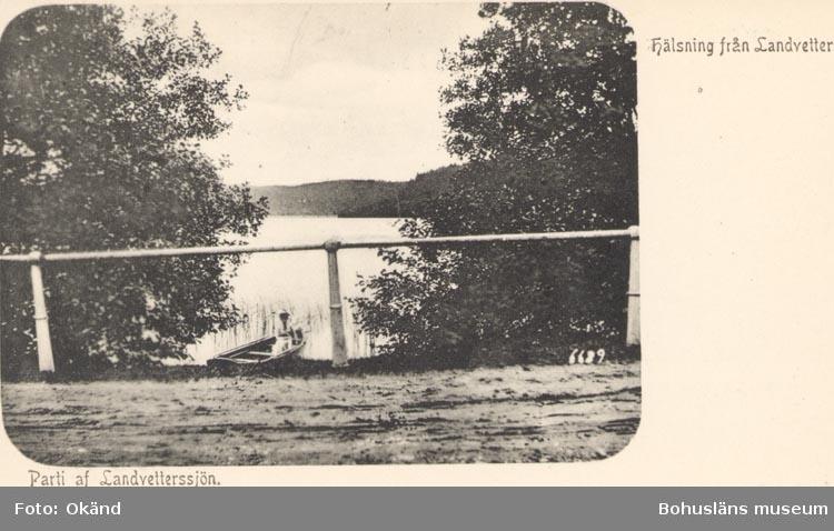 """Tryckt text på kortet: """"Hälsning från Landvetter"""". """"Parti af Landvetterssjön""""."""