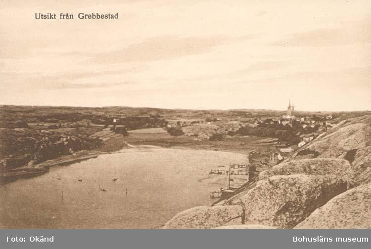 """Tryckt text på kortet: """"Utsikt från Grebbestad."""" """"J. F. Hallmans Bokhandel, Uddevalla."""""""