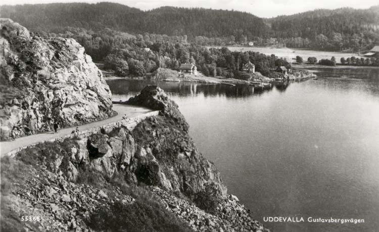 """Tryckt text på kortet: """"Uddevalla. Gustafsbergsvägen."""""""