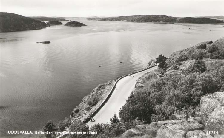 """Tryckt text på kortet: """"Uddevalla. Byfjorden och Gustafsbergsvägen."""" ::"""