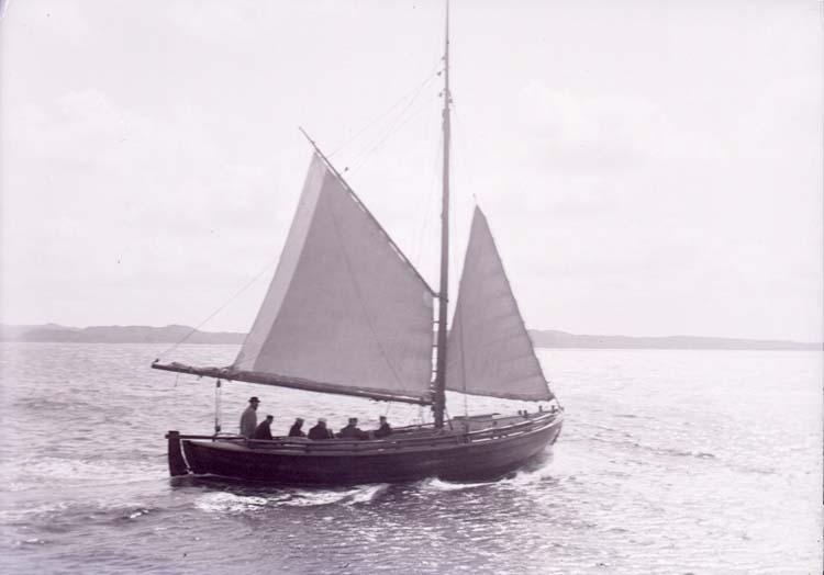 Däcksbåt med revade segel 1901.