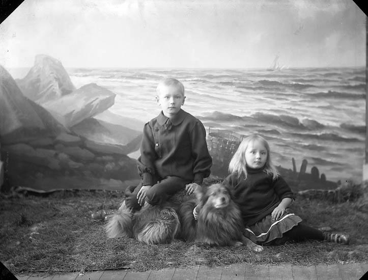"""Enligt fotografens journal nr 3 1916-1917: """"Holm, Postmästare (barnen)""""."""