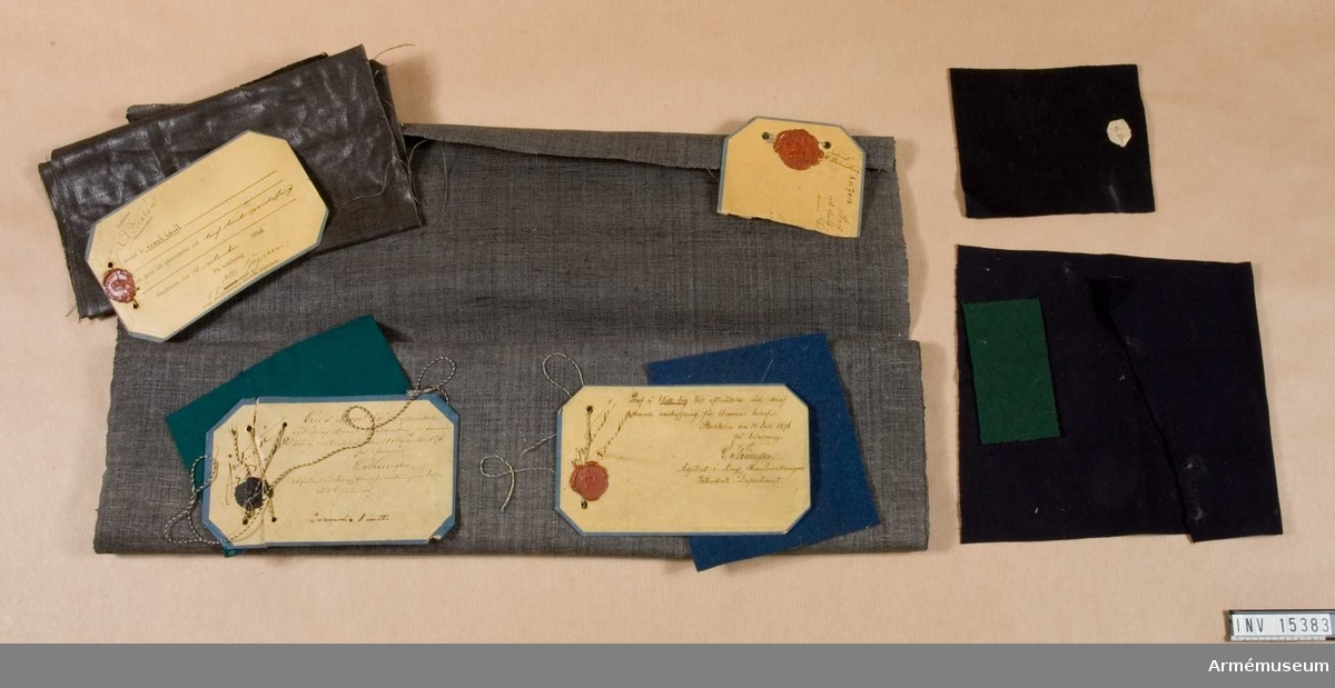 Grupp C I. Modell å svart lärft 12/9 1896.  Prof å grönt boj 1/11 1896. Modellapp för blått boj 14/7 1876.