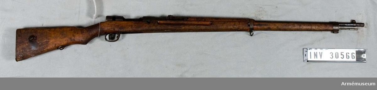 Gevär m/1907, infanteri, Japan.Grupp E II.Mekanism och magasinsbotten saknas.