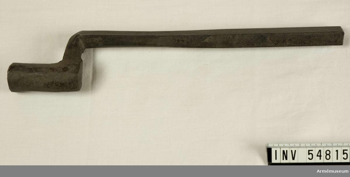 Grupp E VIII.  Nr 3 (av 20) i tillverkningsordningen. Gevärsdel till 1867 års gevär m/1867, en av c:a 400 delar.