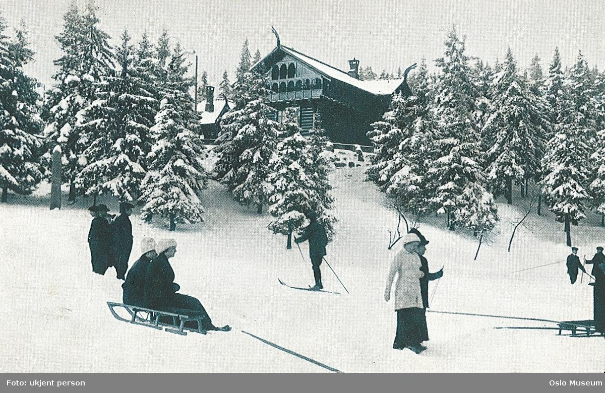 Frognerseteren, skog, snø, mennesker, kjelker, skitur
