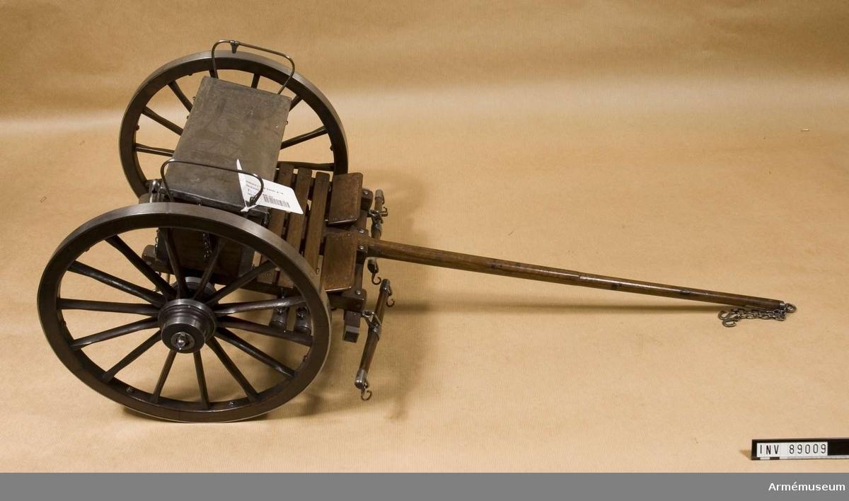 Grupp F I. Modell av föreställare till 12-pundig kanon m/1844, Italien. Skala 1/5. För sardinska fältartilleriet (där benämnd 16-pundig) av Cavallis konstruktion.