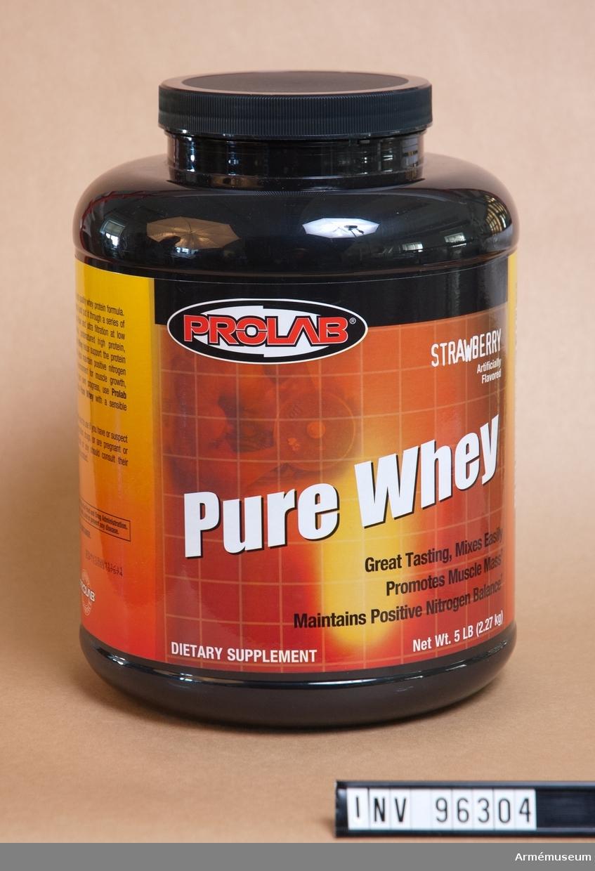 Burk med proteinpulver svart/orange.