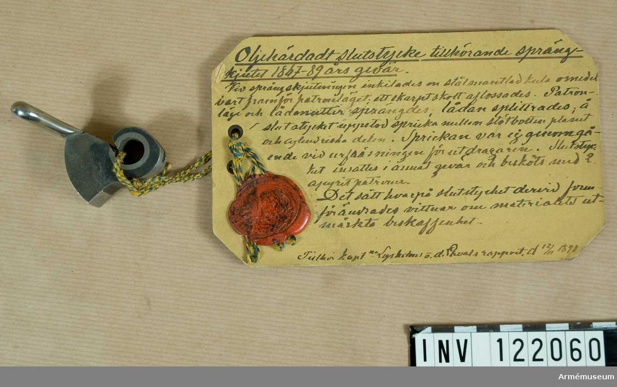 """Text på modellapp: """"Tillhör kapten Lysholms och de Lavals rapport den 12/11 1891"""""""