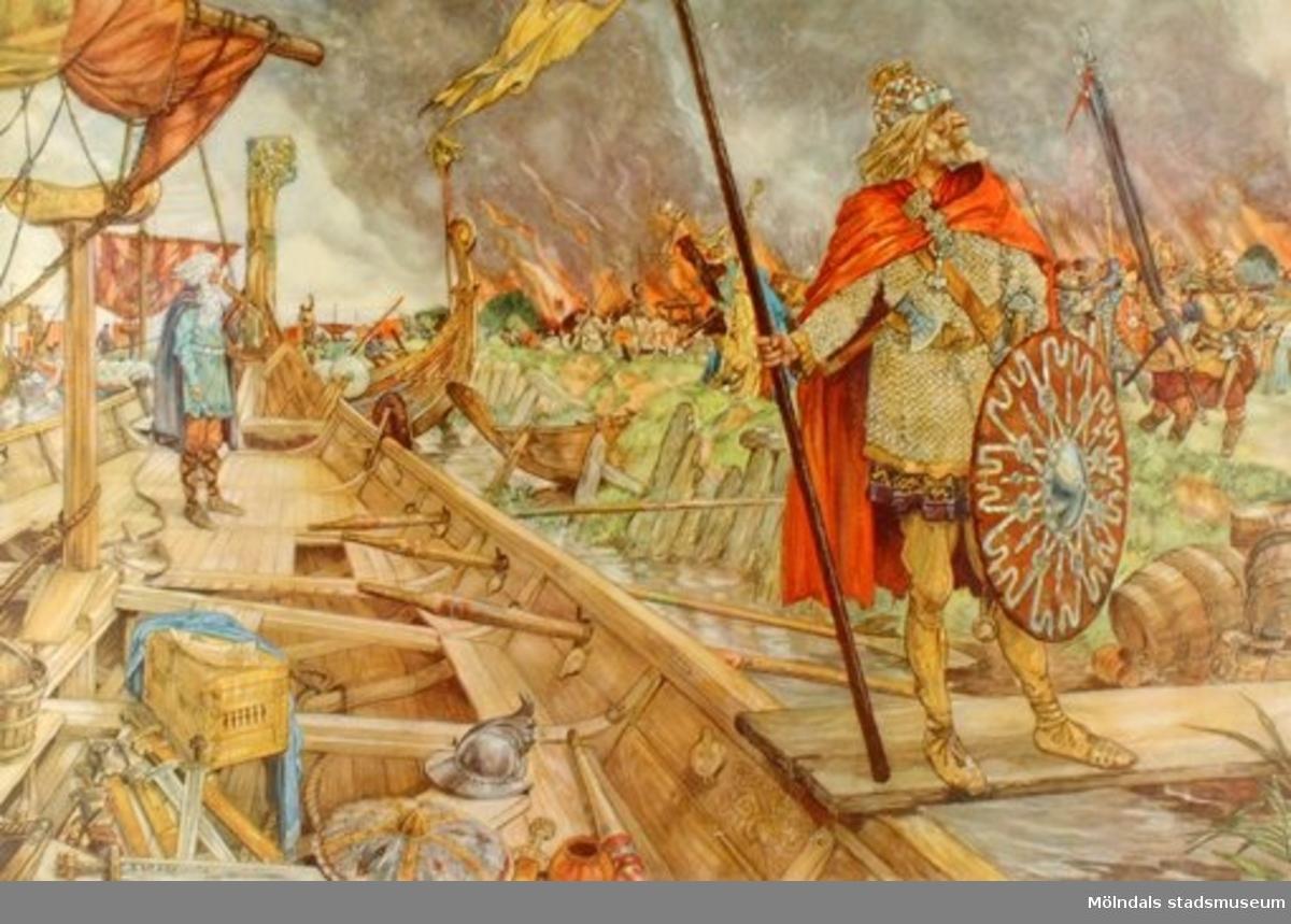 :1: Vikingar gör strandhugg.:2: Korstågsriddare.:3: Hamnen i en hamnstad.:4: Medeltidsstad.:5: Gatuliv under medeltiden.:6: Från 30-åriga kriget.:7: Flotta på 1600-talet.