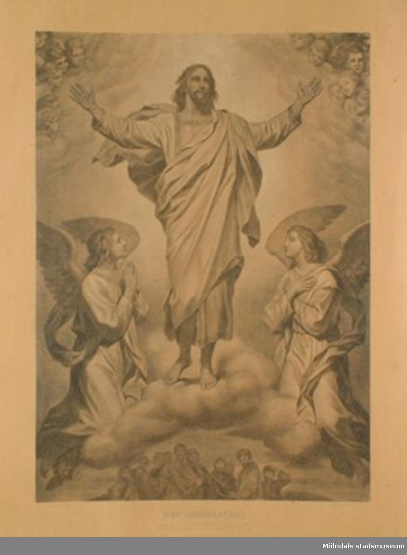 Kristendomskunskap.Jesu himmelsfärd. (Apg. 1:9).Konstnär: Heinr. Hofmann.Planschen är ej monterad på hård skiva.