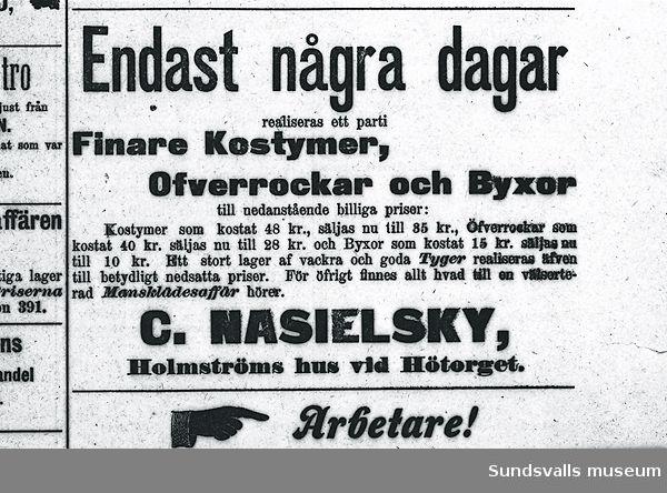 Annons för C. Nasielskys herrekiperingsaffär.