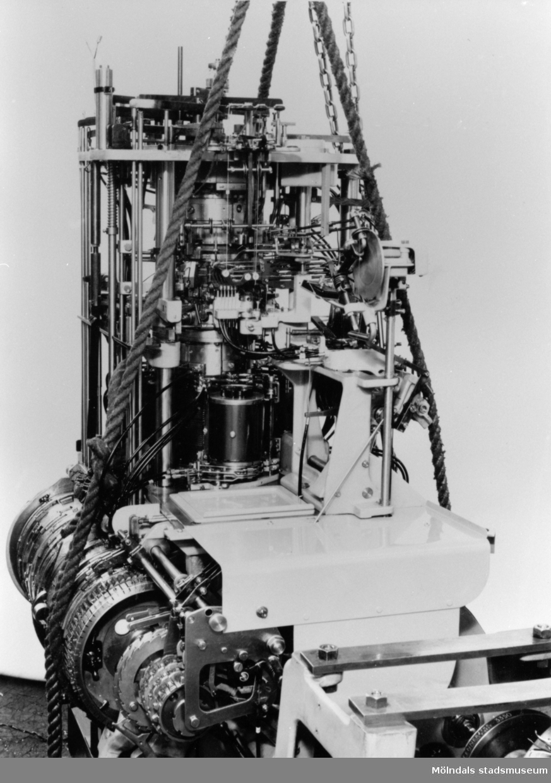 """Maskin från Viktor Samuelssons strumpfabrik, cirka 1950. Fabriken är även kallad """"Strumpan"""" i folkmun."""