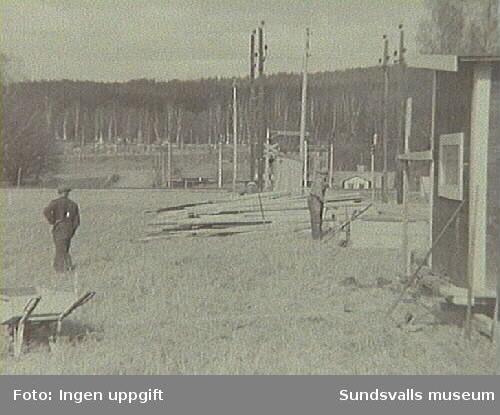 M2, Elektricitetsverkets mottagningsstationen i Nacksta, under uppförande. Ur fotoalbum från Sundsvalls Energi.