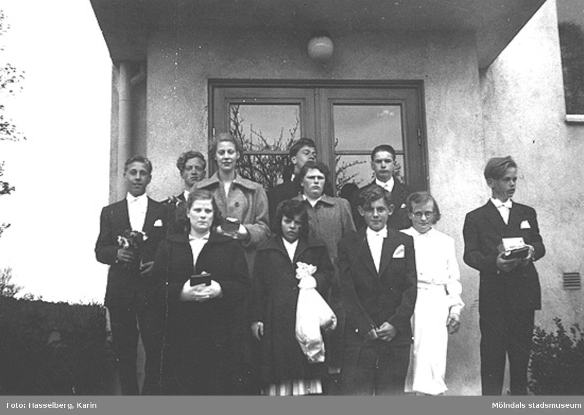 Konfirmander utanför Skolhemmet Stretered den 7 maj 1958.