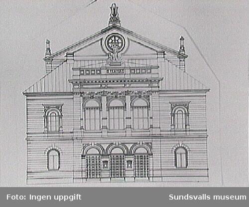 Originalritning från 1892 över Sundsvallsteater Fasaden.