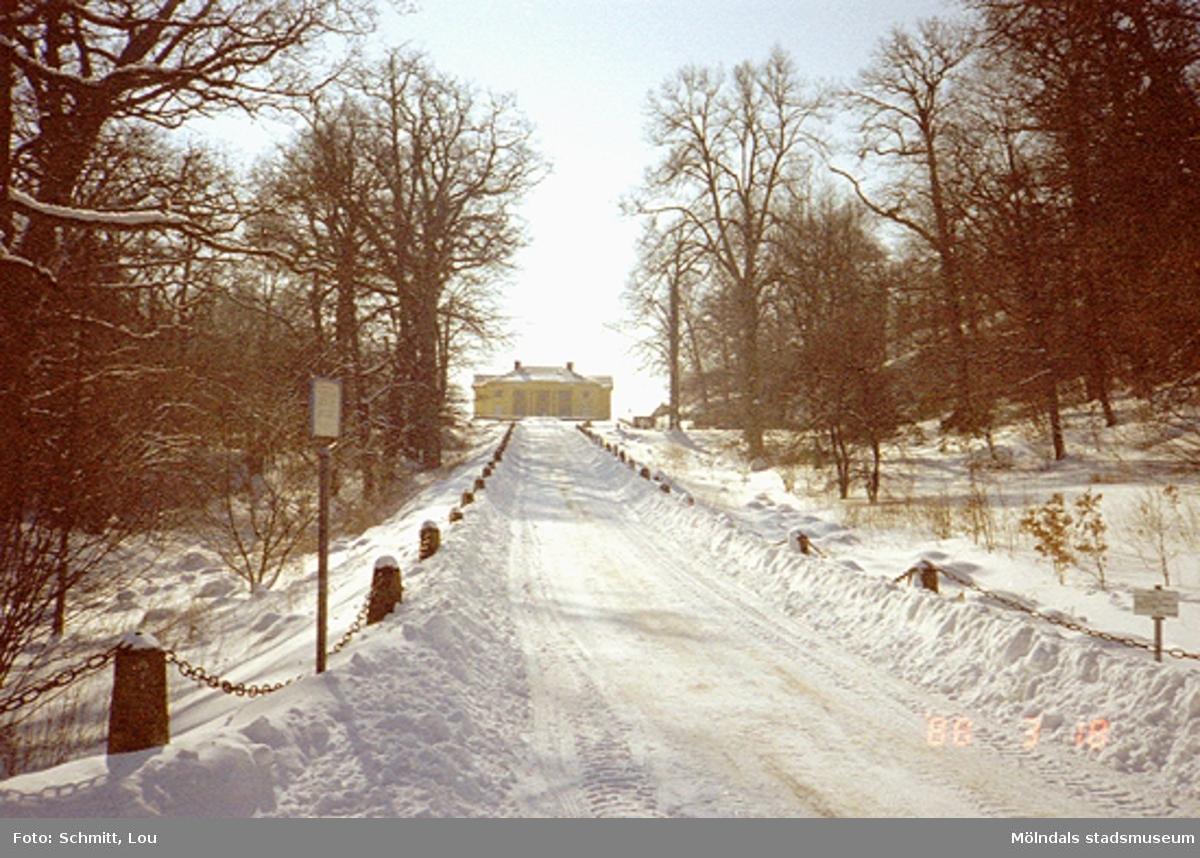 """Gunnebo slott vintertid, sett  från """"Runde Sten"""" på John Halls väg 1988."""