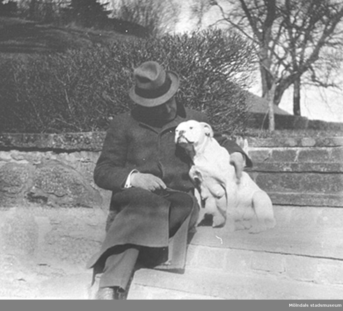 """""""Carl med Daisi - före"""" (underförstått: hundens nedkomst).Carl Sparre fotograferad med hunden bredvid sig på trappan upp till östra parterren."""