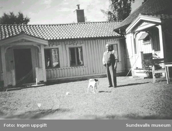 """""""Bimbo och husse"""", Sallyhills gård, 1952. Sallyhills gård var Maiken Bryners barndomshem."""