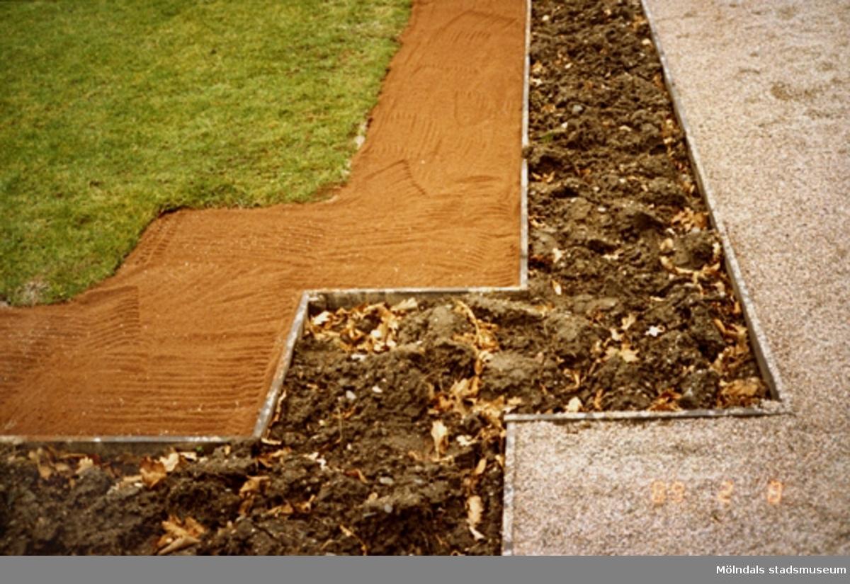Detaljbild på ett vackert hörne av gräsmatta, sandgång, rabatt och grusgång. Allt planerat på samma sätt.