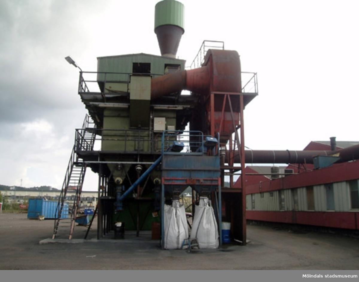 Byggnads/rivningsdokumentation. En rökgasreningsanläggning som skall rivas enligt beslut från Byggnadsnämnden.