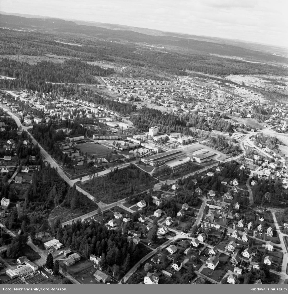 Flygfoton över Hagaskolan och Katrinelund.