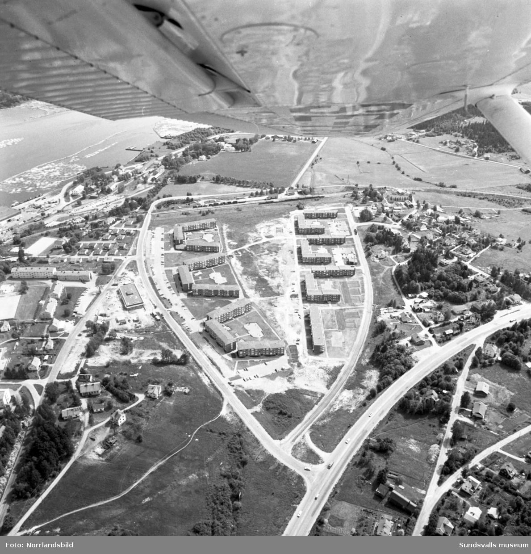 Flygfoton över Finsta, Sundsbruk, med fokus på bostadsområdet vid Hammarvägen-Johannedalsvägen.