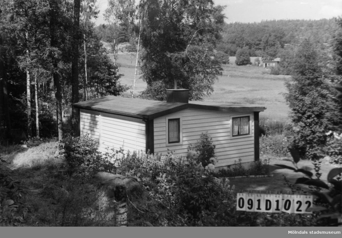 Byggnadsinventering i Lindome 1968. Skräppholmen 2:20. Hus nr: 091D1022. Benämning: fritidshus och redskapsbod. Kvalitet: god. Material: trä. Tillfartsväg: framkomlig. Renhållning: soptömning.