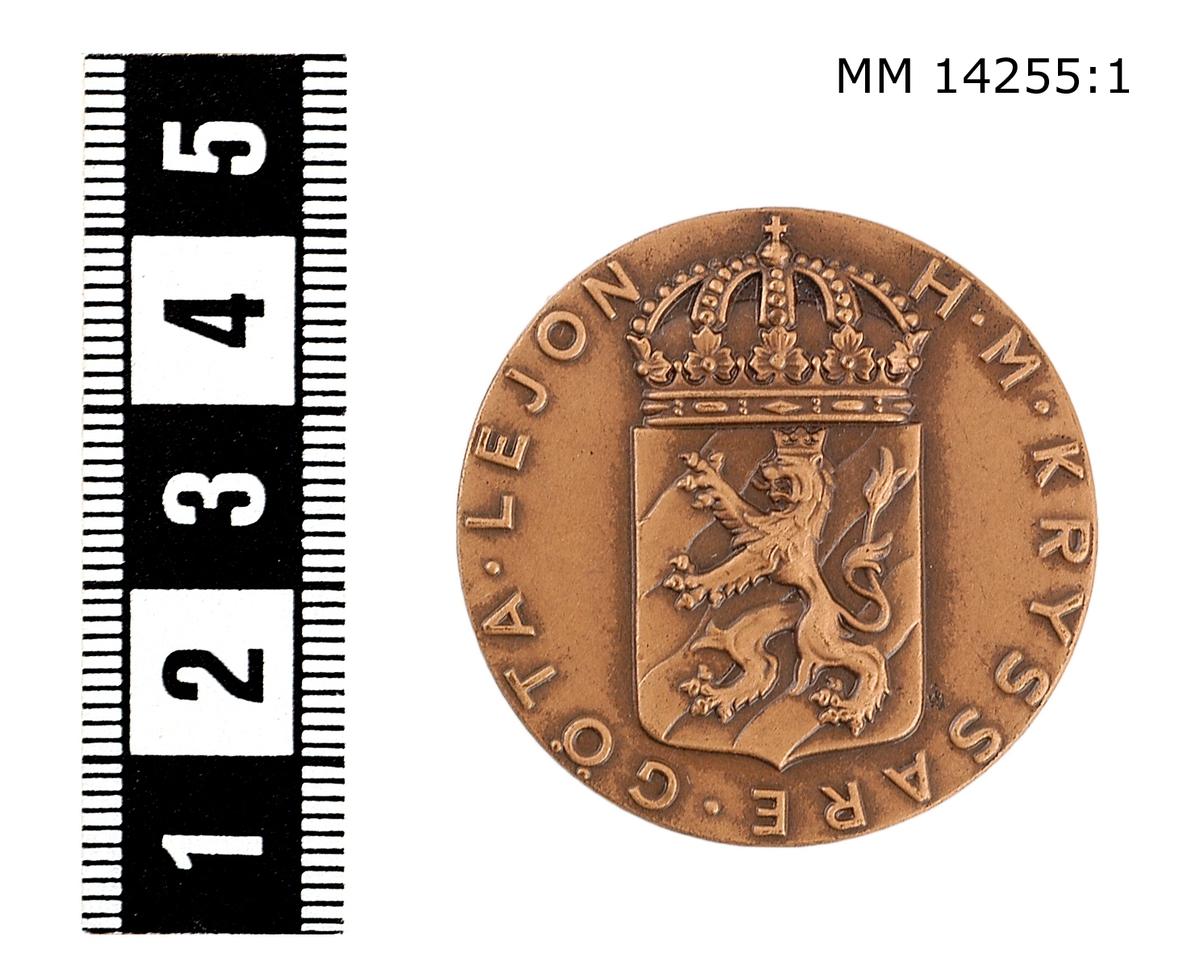 Medalj i brons. På framsidan vapenskjöld med lejon, krönt av kunglig krona jämte omskriften H. M. KRYSSARE GÖTA LEJON. På baksidan koncentriska ringar, däremellan inskriptionen ME NEMO IMPUNE LACESSET (Ingen angriper mig ostraffat).